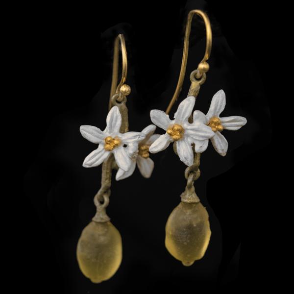 Lemon Drop Dangle Flower Wire Earrings – Item#: 3318BZ