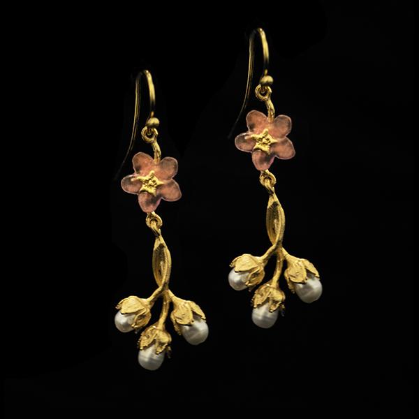 Pinkie Winkie Flower & 3-Pearl Wire Earrings – Item#: 3345BZ