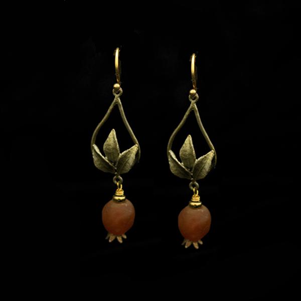 Pomegranate Tear Drop Wire Earrigs – Item#: 3541BZ
